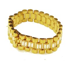 Watchband Style Industrial Deco Bling Gold Tone and Rhinestone Link Bracelet