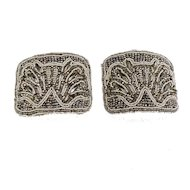 MADE IN FRANCE Elegant Hematite and Imitation Baby Pearl Bar Back Shoe Buckles