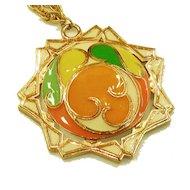 1970s Pop Op Art Orange, Green and Yellow Pendant Necklace