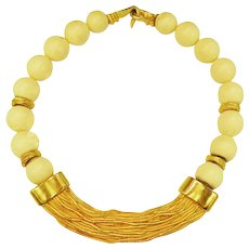 5785b9d3493 Textured Matte Gold Tone Necklace with Creme Wood Beading