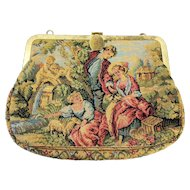 Pastural Scene Tapestry Purse with Metal Frame and Spring Closure