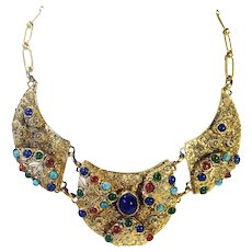Etruscan Revival High Set Mogul Colored Cabochon Richly Textured Link Bib Necklace
