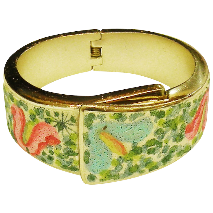 FANTASIA by MEDANA Multi Color Painted Textured Fabric Front Aluminum  Bypass Watch Bracelet Made in West Germany