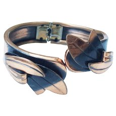 Blackened Copper Hinged Bypass Leaf Design Cuff Bracelet