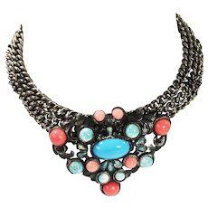 Gunmetal Wide Link Collar Chain with Center Medallion of Coral and Turq Colored Cabochons