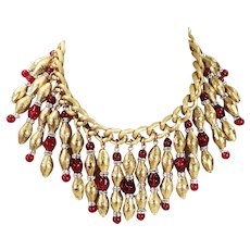 Dramatic Vintage Baroque Etched Gold Tone Byzantine Bib Necklace with Red Glass Beads and Rondelles