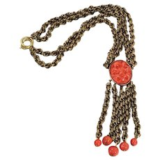 Heavy Double Chained Coral Colored Lava Rock with Five Drop Tassels and Coral Bead Tips Necklace