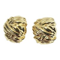 Ribbon Textured Gold Tone Metal Abstract Button Earrings