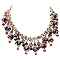 Holiday Red Black and Silver Tone Bead Caps with Rondelles dramatic Bib Necklace