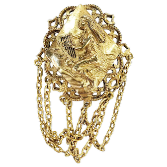 Russian Gold Tone Lady with Harp Gold Tone Brooch/pim