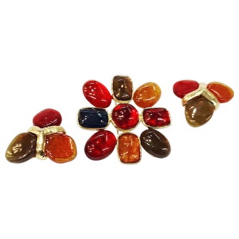 Vo America Rich Red, Rust, Amber, Green and Blue Poured Resin Brooch and Earrings Set