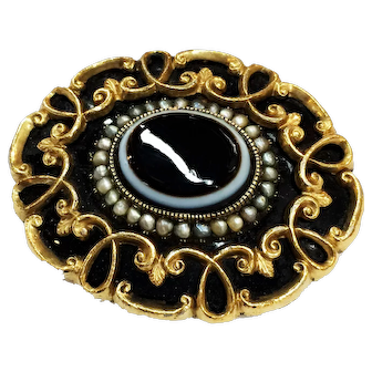 Victorian Gold Filled Banded Agate Center Filigree Brooch with Seed Pearl Detailing