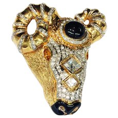 VALENTINO Large Rams Head Figural with Amber and Crystal Glass, Black Enamel and Cabochon Gold Tone Brooch