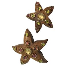 FRENCH FREDERIC-BEZIAT-LOREE-du-BOIS Wooden Starfish Figural Brooches with Gold Tone Bezels and Multi Stones