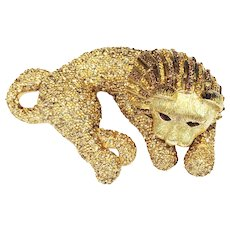 CINER Shades of Amber to Rootbeer Pave Encrusted Cuddling Big Cat Lioness Brooch