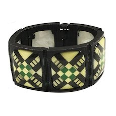 Diane Love for TRIFARI Japanned Glass Stoned Green Plaid Front Intaglio Back Link Bracelet
