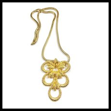 1973 MIMI D N Braided Gold Tone Long Modernist Etruscan Revival Pendant Necklace