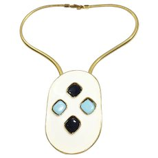 PIERRE CARDIN Reversible Turq Navy Lozenge on Cream Enamel Large Oblong Pendant with Snake Chain