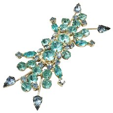 Spring Shades of Aqua and Pale Blue Rectangular Spray Rhinestone Brooch
