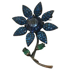 WEISS Japanned Back Shades of Teal Blue and Green Floral Stalk Brooch
