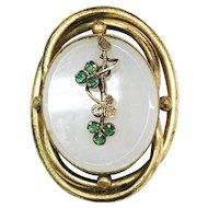Victorian Gold Filled Swirling Rim Brooch with Agate Center and Applied Flower Stalk with Green Stones-AS IS