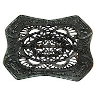 German Filigree Centered Carved Edge Iron Brooch