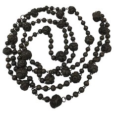 Long Bog Oak Wired Bead Necklace