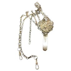 Signed GG 925 Sterling Chatelaine with Cherub Head and Dangling Chain-AS IS