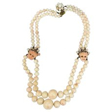 Angle Skin Coral Double Strand Variegated Size Beaded Necklace with Drama Mask Coral Faces