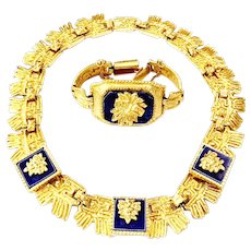 SALVADOR TERAN Textured Gold Tone Link Necklace and Bracelet with Lapis Blue Colored Accents