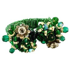 ANKA Hand Beaded Emerald Clamper Bracelet