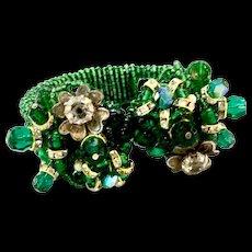 ANKA Hand Beaded Emerald Clamper Bracelet