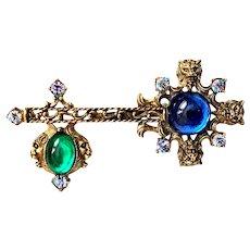 Antique Gold Tone with Blue, Green & Iris Stone Heraldic Key Brooch 1970's.