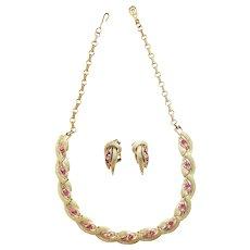 TRIFARI Florentine Textured Gold Tone and Rose Rhinestone Wavy Necklace & Earrings