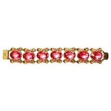 CZECH Cushion Cut Rose and Gilt Rhinestone Bracelet