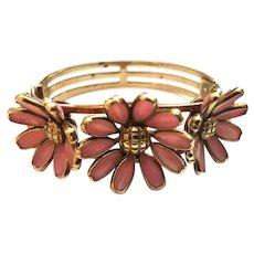 TRIFARI Pink Glass Stoned Flower Hinged Clamper Cuff Bracelet