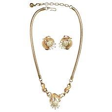 TRIFARI Gold Tone & Rhinestone Thistle Necklace & Earrings 1950's