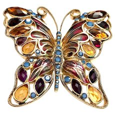 MONET Plique a Jour Butterfly Brooch