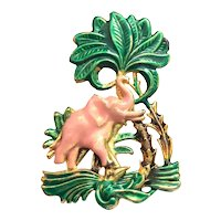 DEPOSE French Pink Enameled Elephant Brooch