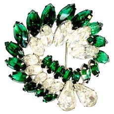 EISENBERG Emerald and Ice Color Rhinestone Swirl Brooch