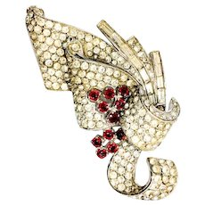 Finely Paved and Rhodium Plated Clear Rhinestone Ribbon Brooch with Ruby Accents