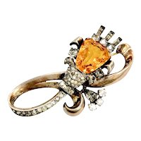 Amber and Pave Rhinestone Swirling Brooch