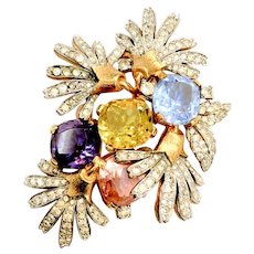 JOMAZ Stunning Multi Color Cushion Cut Rhinestone and Pave Pretty Lady Brooch