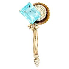 WALTER LEMPL 1/20th 12K Gold Filled Brooch with Large Rectangular Aqua Stone and Multi Chain Drop