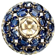 Sterling Domed Oval Montana Blue Rhinestone Brooch with Four Leaf Clover Center