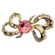 EISENBERG ORIGINAL Pink Stoned Bow Brooch with Rhinestone Accents