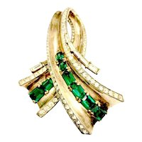 Trifari Green and Clear Rhinestone Bypass Ribbon Brooch
