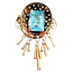 Reis 1/20th 12K Gold Filled Dimensional Brooch with Turquoise Rectangular Rhinestone and Tassels