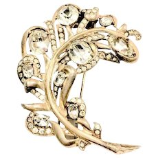 EISENBERG Pale Gold and Clear Rhinestone Brooch