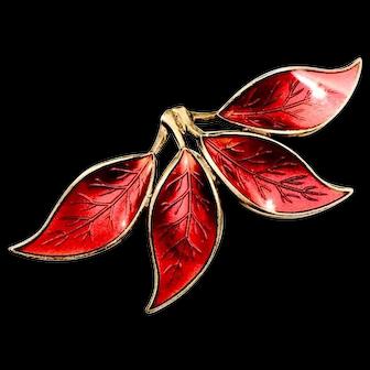 David Anderson Norwegian Sterling Red Enamel 4 Leaf Brooch